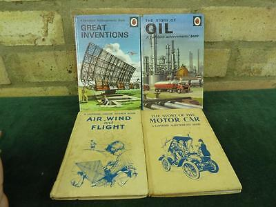 4 Vintage Ladybird book Great Inventions , Oil , Motor Car , Air Wind and Flight