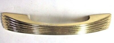 "1 vintage fancy shiny solid brass ribbed drawer pull handle: holes=3"" & 3-3/4""CC"