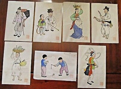 Chinese Paintings on Pith Rice Paper 19th C Antique Asian Art China Set of Six 6