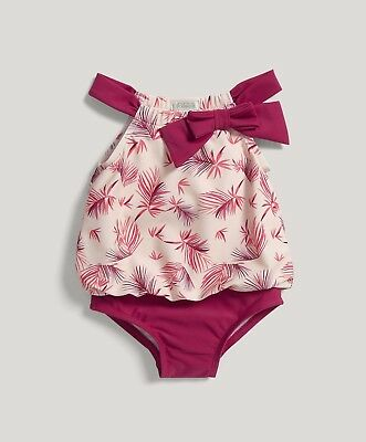 Mamas and Papas Girls LEAF Pink SWIMMING COSTUME SWIMSUIT  -12-18 Months