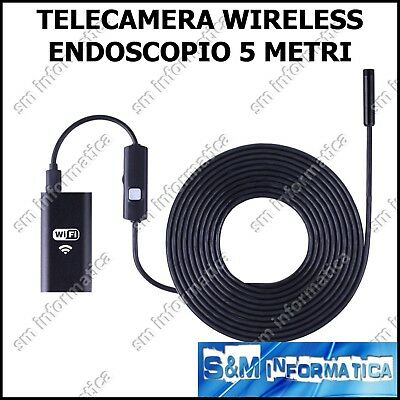 Endoscopio Wireless Telecamera Ispezione Wifi Per Ios Iphone Android 5Mt Hd 720P