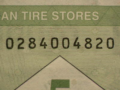 Canadian Tire Coupon 5 Cents 4 Digit RADAR Note  #G8801
