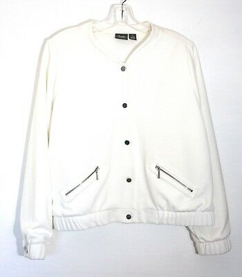 NWT Chico's Travelers Collection Bomber Jacket, Antique White,