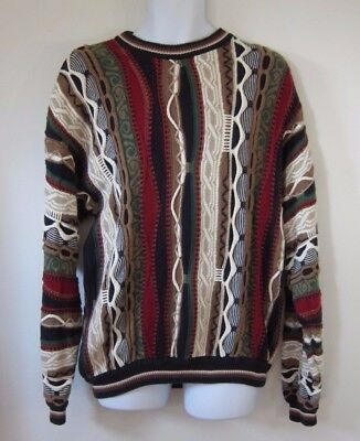Vtg 90s Cotton Traders 3D Texture Knit Abstract Ugly Sweater Mens Size Large