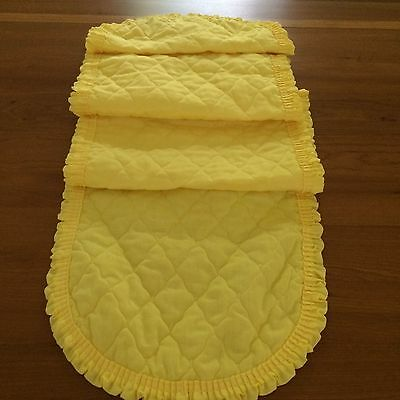 """QUILTED Vtg table runner yellow ruffle SHABBY COTTAGE CHIC 68x13"""""""