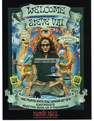 2001 ERNIE BALL Guitar Strings STEVE VAI Plays With Hands Of 10 art Vtg Print Ad