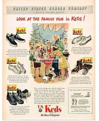 1947 US KEDS Sneakers Cross-Court Coaster Cager Game-Ace Climber Vtg Print Ad
