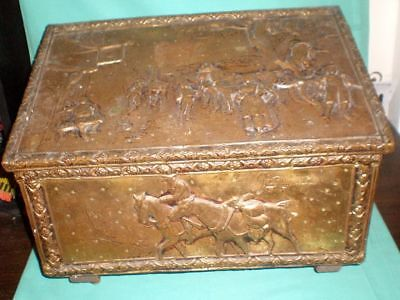 antique Edwardian embossed brass coal/wood shuttle/Fireplace container/box