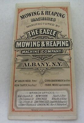 Antique Eagle Mowing & Reaping Albany Ny Farming Advertising Trade Card Booklet