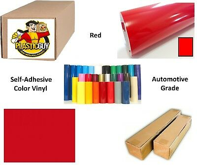 "48"" x 50yd 6yr outdoor sign vinyl film craft hobby roll sheet red"