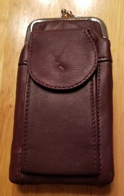 Marshal Leather Burgundy 100's Cigarette Snap Case Coin Purse