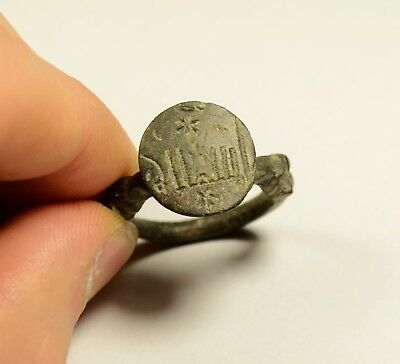 Massive Ancient Viking Era Bronze Finger Ring / Richly Decorated - Wearable