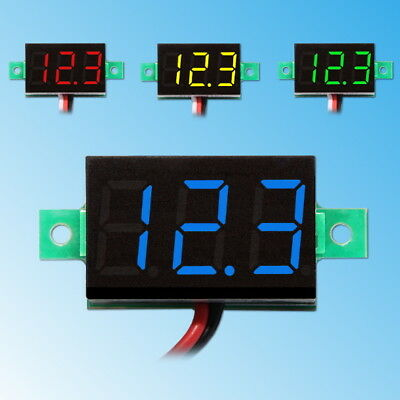 "0.36"" LED Mini Digital Voltmeter 3-30V DC Panel-Meter Spannungsanzeige Rot Blau"