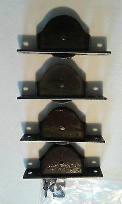 Lot of 4 Antique ACME #2 Window Sash Pulleys Clear Coated Cast Iron Circa 1888
