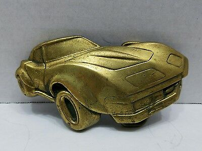 Vintage Baron 6065 Solid Brass 1978 Corvette Belt Buckle - Nice!