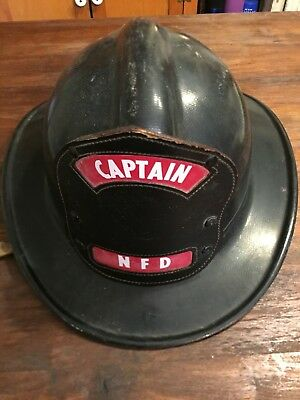Vintage Msa Fire Helmet -  Capatain / Northfield Fire Department - Ill.