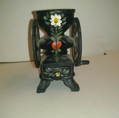 Pennsylvania Dutch cast iron mini pepper grinder hand painted darling