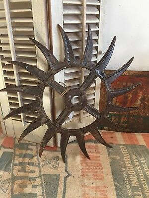 Vtg Antique Cast Iron Decorative Rotary Hoe Wheel~Garden Decor