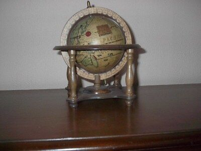 Olde World Desk Top Table Top Spinning Globe w/Zodiac Wood Stand Japan