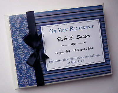 Personalised Navy Retirement/wedding/gift Guest Book - Any Colour
