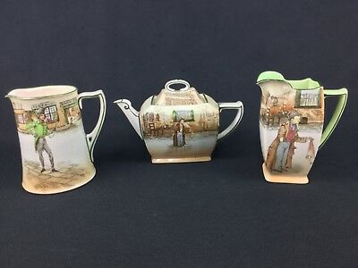 Royal Doulton Dickens Ware Artful Dodger Alfred Jingle Teapot 2 Pitchers Noke