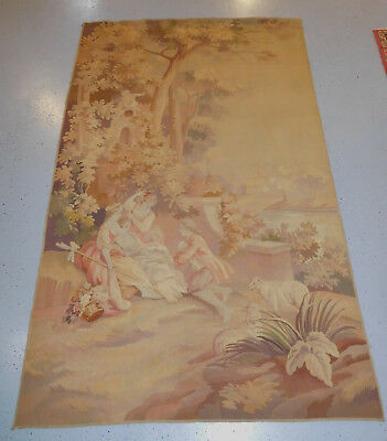 European Antique Tapestry 4.8x7.7 estate Fine Silk and Wool French?