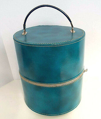 Vintage Seba Wig Case Retro Hat Box Train Case Zippered Blue Vinyl Luggage