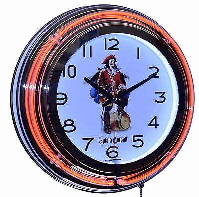 "Captain Morgan Rum 15"" Orange Double Neon Lighted Wall Clock Man Cave Decor"