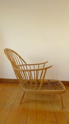 Vintage mid century Ercol chairmakers blonde wood arm chair, rare. Used