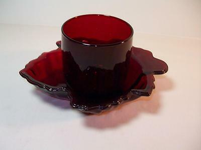 Vintage 2 pc lot Ruby Red Glass Juice glass & Maple Leaf nut Dish, Candy Dish