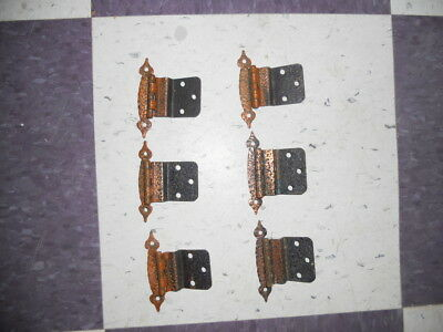 "6 / Six Vintage Hammered  COPPER Plated HINGES 3/8"" Offset Cabinet Doors"