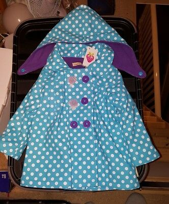 BNWT Beauty And The Bib blue spotty Purple Fleece Lined Coat Size 9-12 months