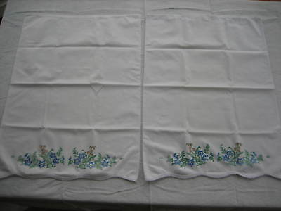 Pair Of Vintage Pillowcases Screen Print Blue and Orange Flowers