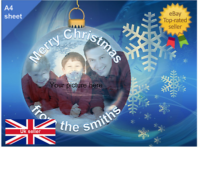 'YOUR OWN PHOTO' CHRISTMAS CAKE TOPPER personalised image Quality ICING OR WAFER
