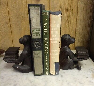 Pair of Vintage MONKEY CHIMPANZEE Holding Books Cast Iron Bookends Heavy