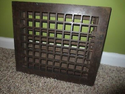 Antique Cast Iron and Steel Floor Heat Register Vent Old Hardware 10 x 12