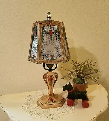 Restored 1920-30s Shabby Chic Cottage Style Barbola Cast Iron Desk or Table Lamp