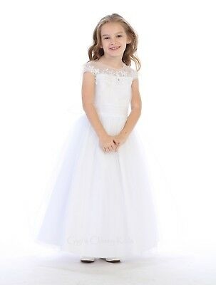 New Flower Girls White Lace Dress First Communion Wedding Easter Elegant 724