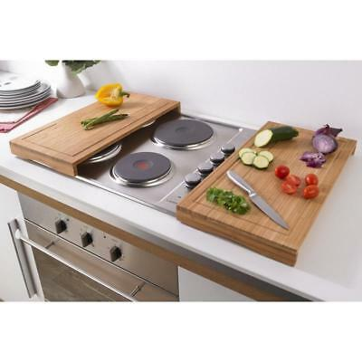 Set of 2 Bamboo Worktop Savers Hob Cover Plates Chopping Multipurpose Board New