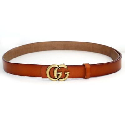 Womens Genuine Leather Thin Belts For Jeans 0.9? Wide With Letter Buckle Fashion