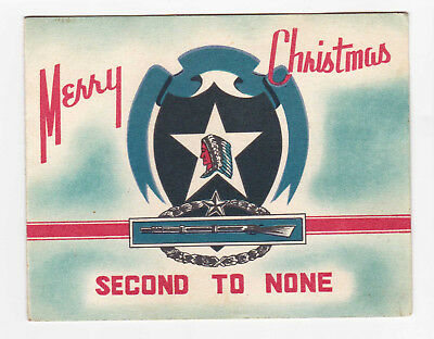 Vintage 1952 Korean War US Army 2nd Infantry Div Christmas Card Second Division