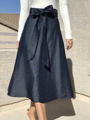 Tibi Light Weight Denim Wrap Midi Skirt 00/0