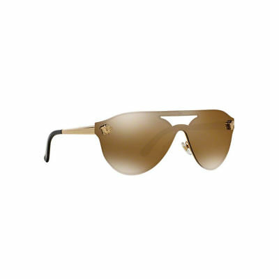 NWT Versace Sunglasses VE 2161 1002/F9 Gold Brown /Light Gold Mirror 42mm 1002F9