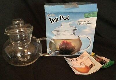 Primula 40-Ounce Glass Teapot with Infuser and Lid - Bonus Tea Flower Included
