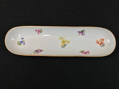 Antique Meissen Scattered Flowers 9 1/4 Inch Pen Tray Rare