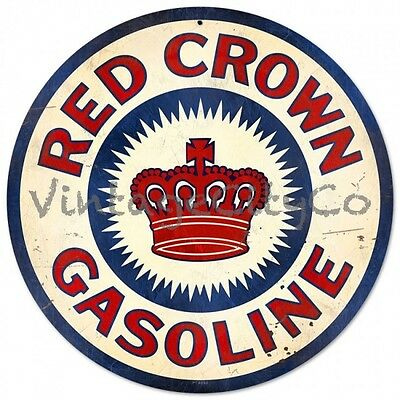 """Antique Style """"Red Crown Gasoline"""" Gas Round Metal Sign -PTS092"""