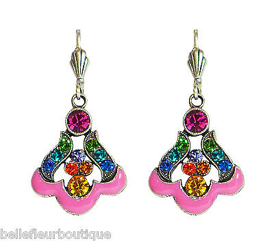 Anne Koplik Art Nouveau Multi-Color & Bright Pink Drop Earrings *Made in USA*