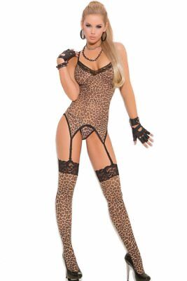 3-Piece Cami Set Camisette Leopard Animal Print Panty G-String Thigh-Hi Stocking