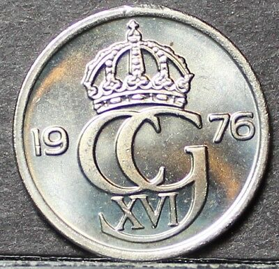 Sweden 10 Ore, 1976 Gem Unc~1st Year~Key Date~Free Shipping