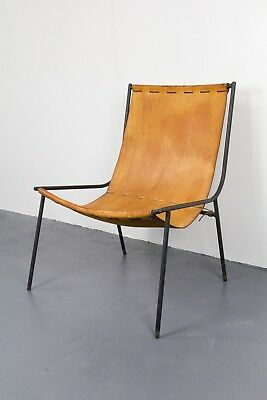 Handmade Gordon Keeler Iron and Leather Sling Chair, 1950s